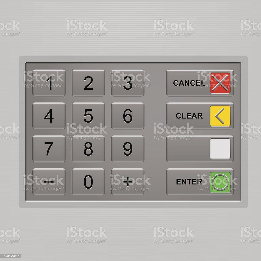 Keypad of automated teller machine vector art illustration