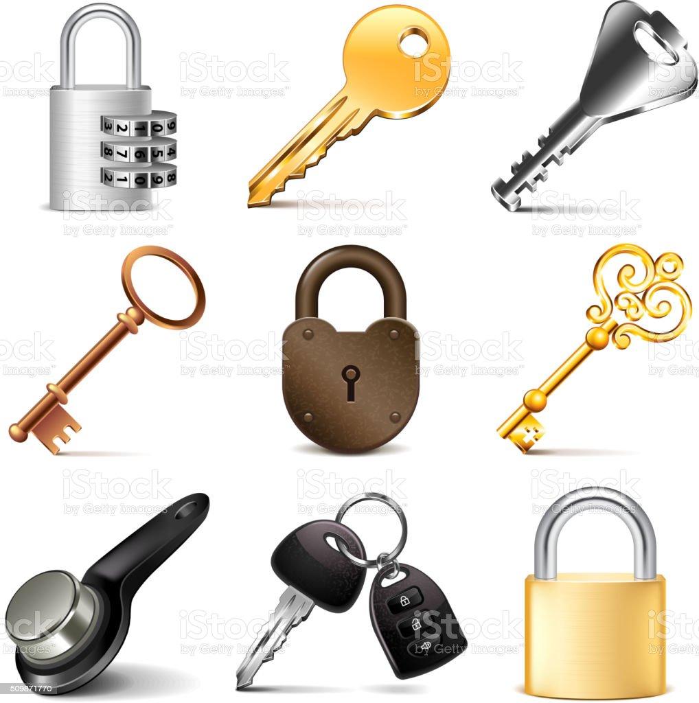 Keys and locks icons vector set vector art illustration