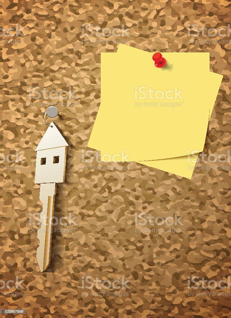 keys on cork board vector art illustration