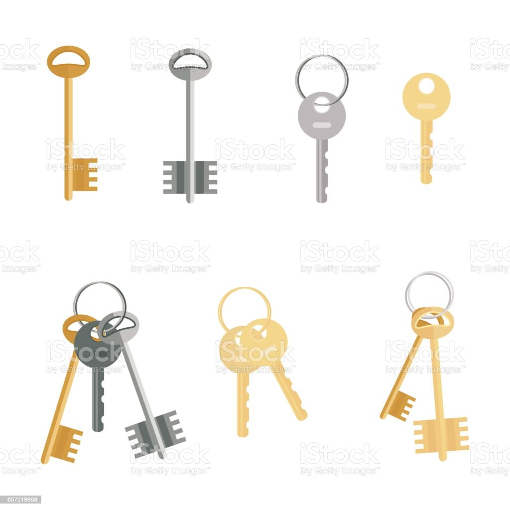 Keys set isolated on white background. Flat cartoon icons of door keys in a modern style. vector art illustration