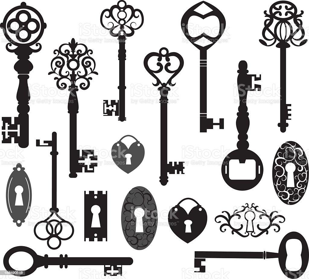 Keys Silhouette vector art illustration