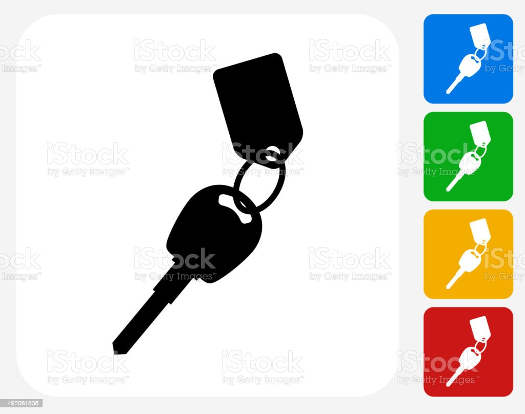 Keys with Keychain Icon Flat Graphic Design vector art illustration