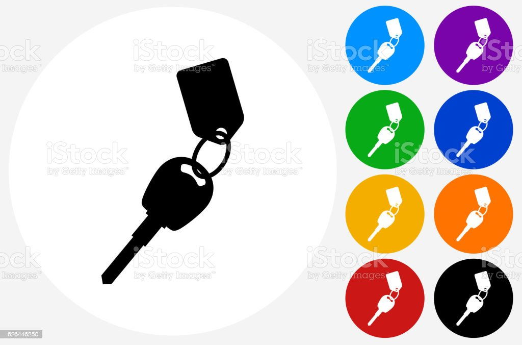 Keys with Keychain Icon on Flat Color Circle Buttons vector art illustration