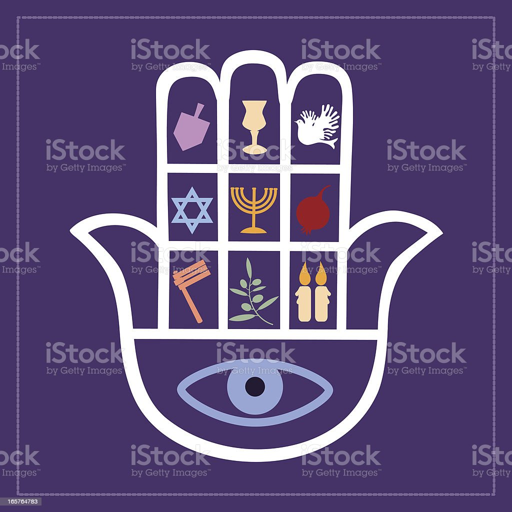 Khamsa On Violet Background vector art illustration