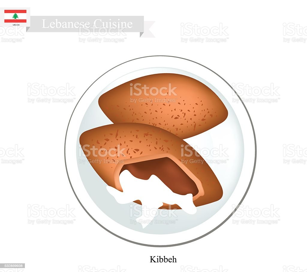 Kibbeh or Lebanese Meatballs From Minced Meat and Bulghur Wheat vector art illustration