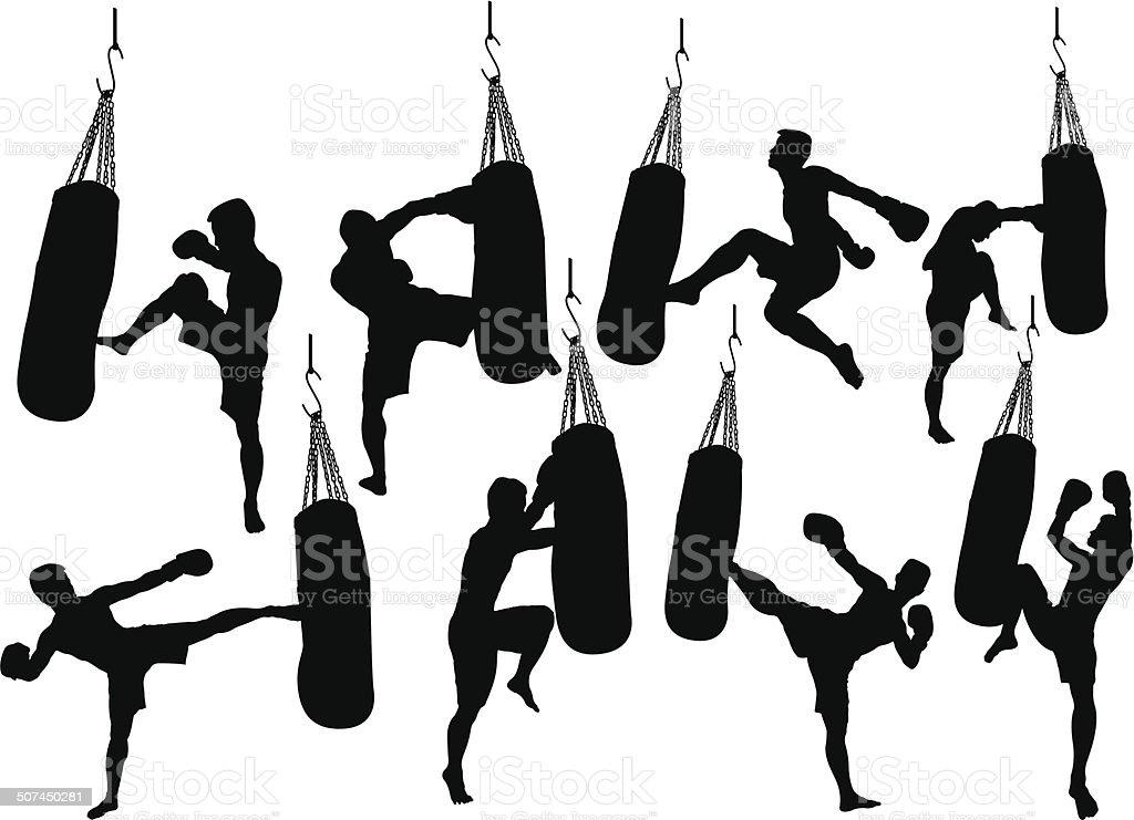 kick Boxing vector art illustration