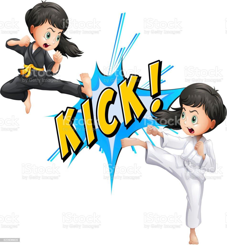 Kick flash vector art illustration