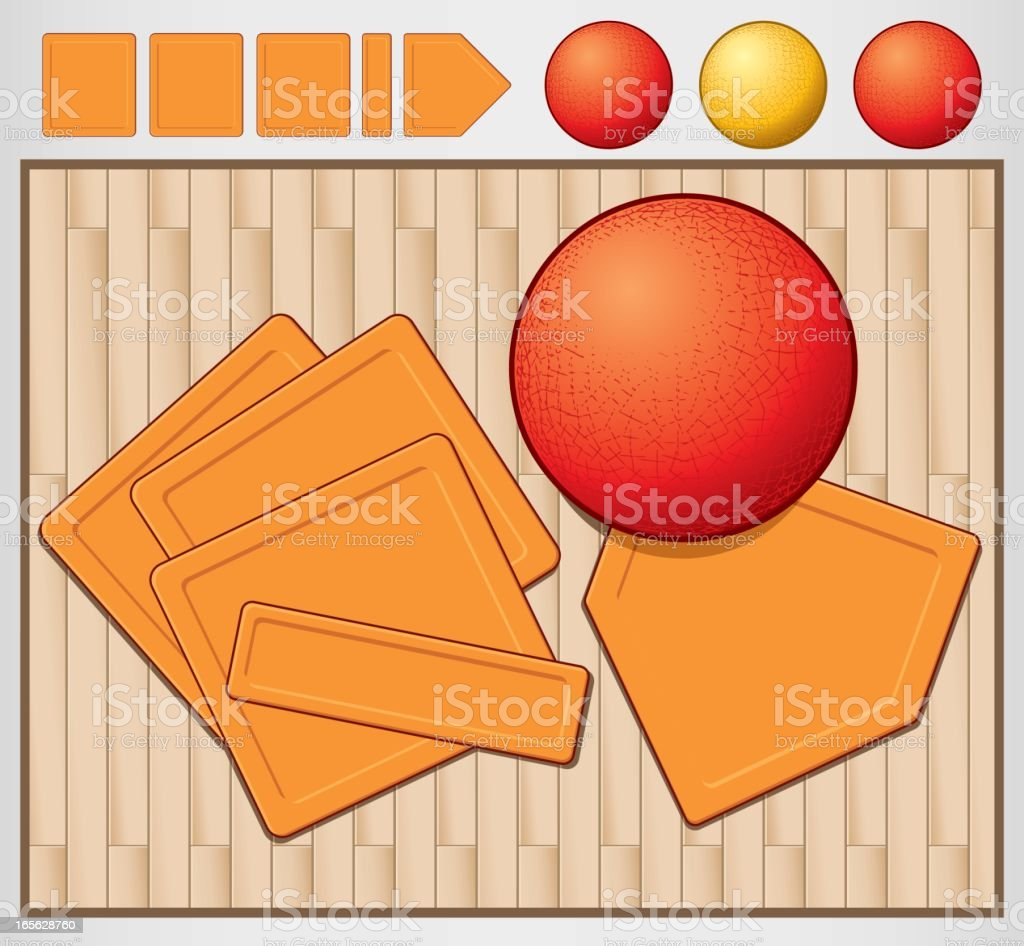 Kickball with Rubber Bases royalty-free stock vector art