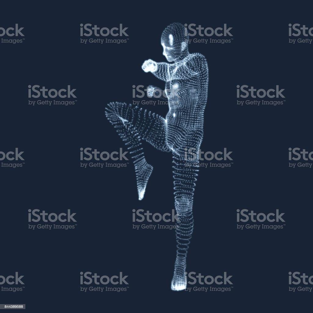 Kickbox Fighter Preparing to Execute a High Kick. Fitness, Sport, Training and Martial Arts Concept. 3D Model of Man. Human Body. Design Element. Vector Illustration. vector art illustration