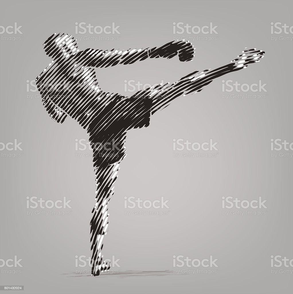 Kickboxer vector art illustration