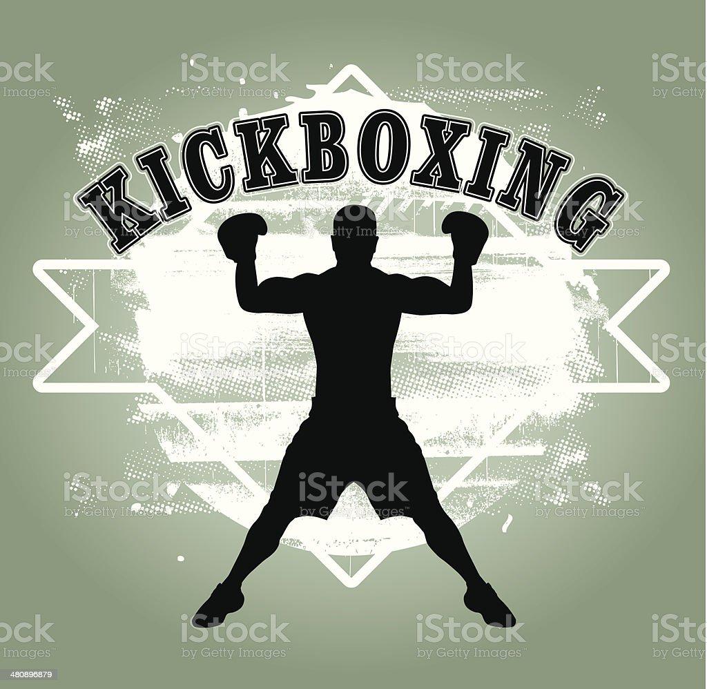 kickboxing grunge shield vector art illustration