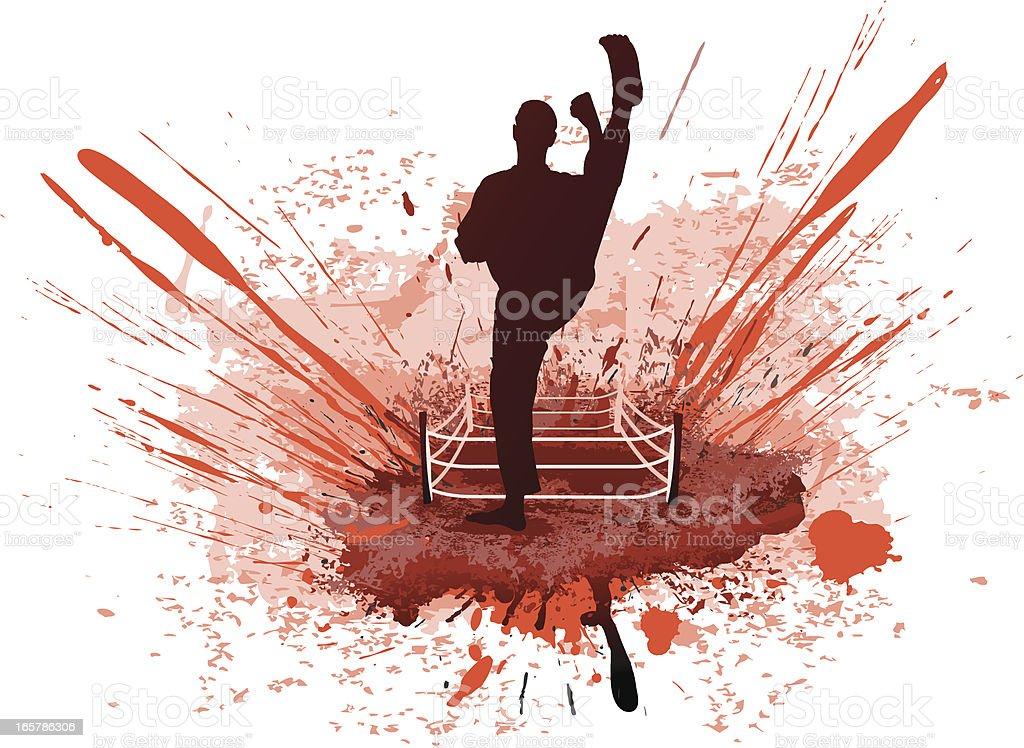 Kickboxing grunge vector art illustration