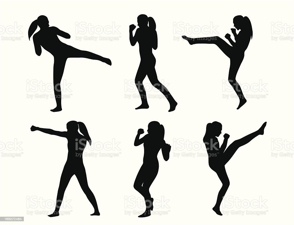 Kickboxing She Vector Silhouette vector art illustration