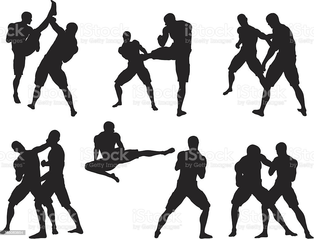 Kickboxing Silhouette Collection vector art illustration