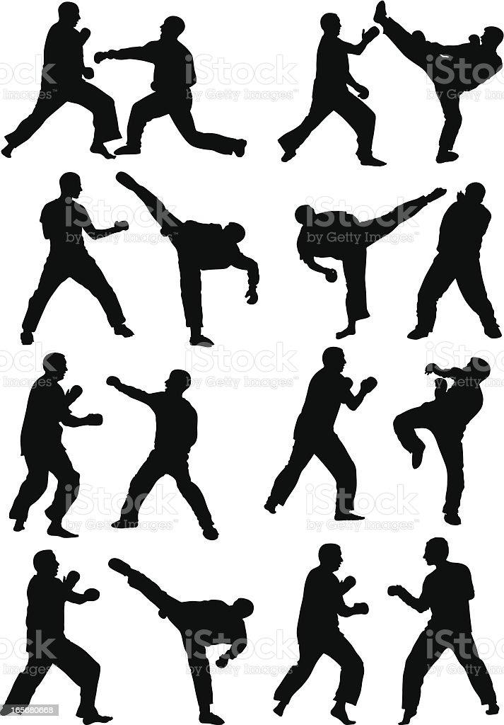 Kickboxing vector art illustration