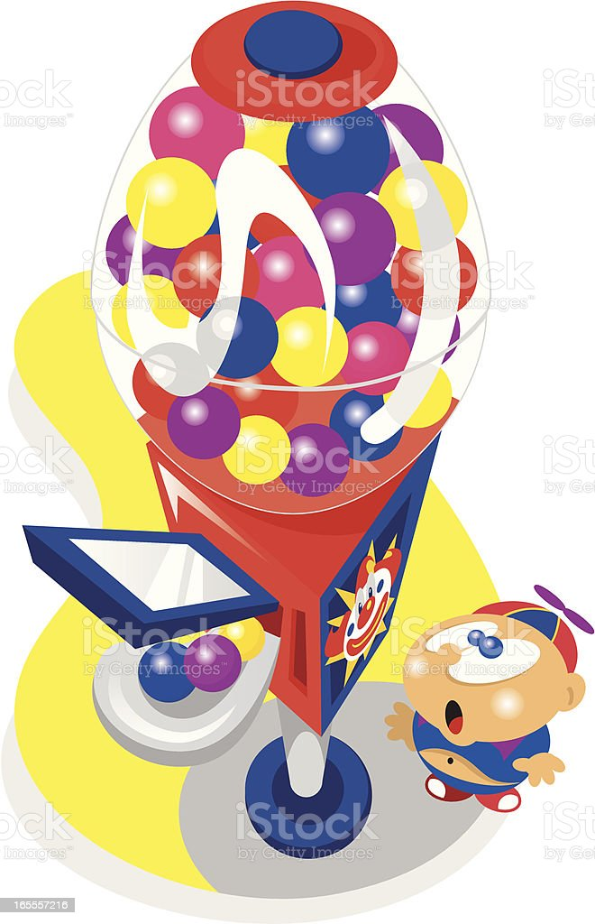 kid and bubble gum machine vector art illustration