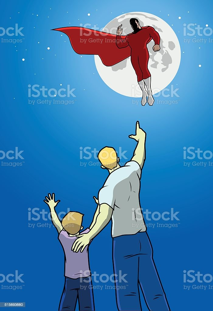 Kid and his dad cheering to a hovering superhero vector art illustration