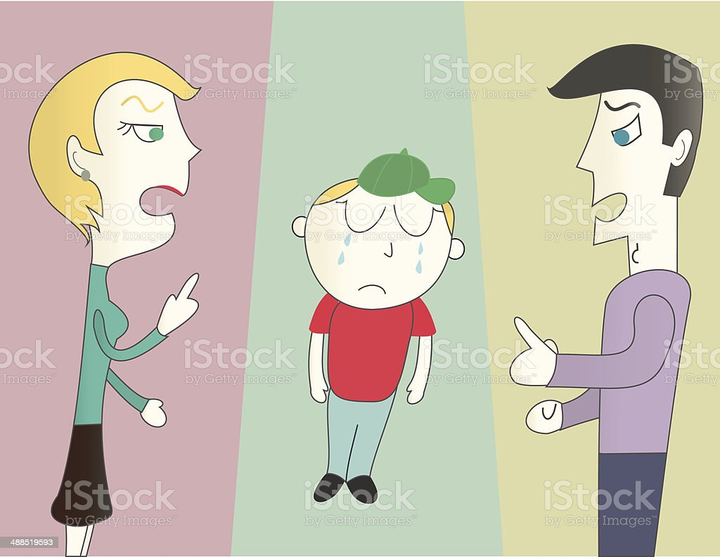 kid being scolded by his parents vector art illustration
