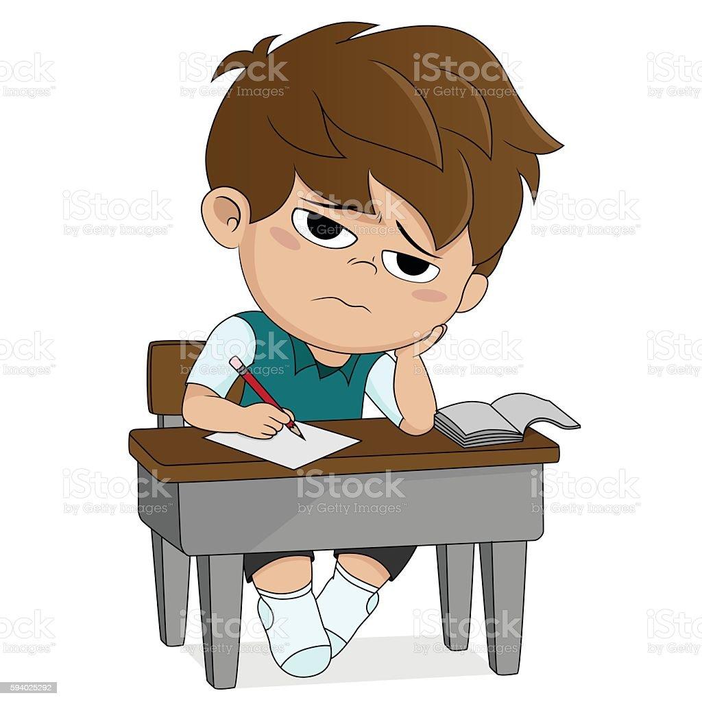 kid boring about someting.back to school. stock vecteur libres de droits libre de droits