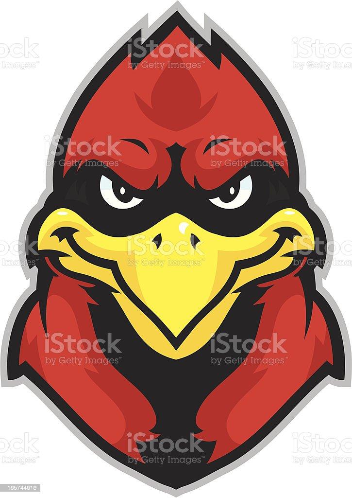 Kid Cardinal mascot head royalty-free stock vector art