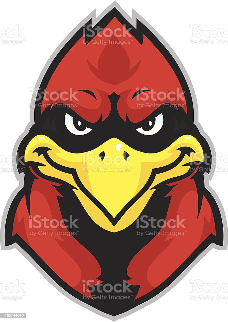 Kid Cardinal mascot head vector art illustration