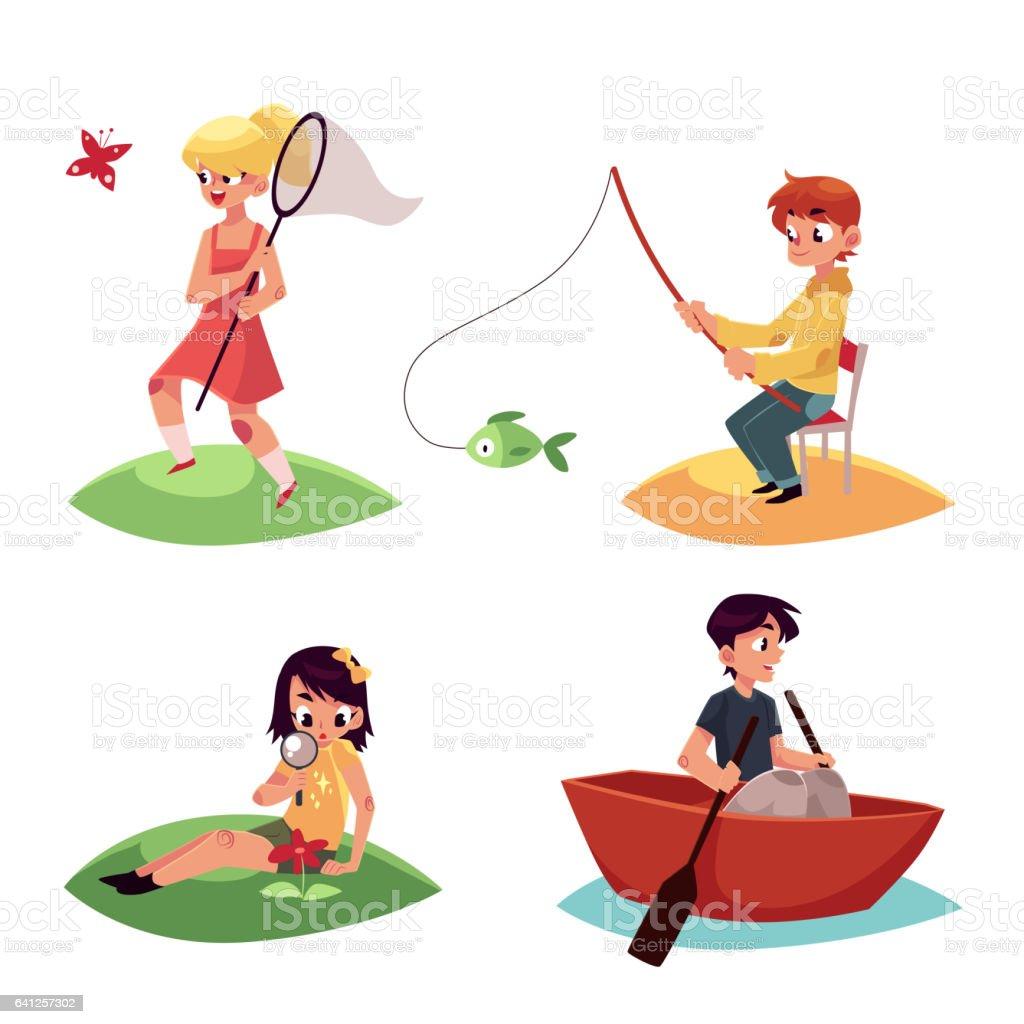 Kid chasing buttterflies, fishing, kayaking and watching flowers in summer vector art illustration