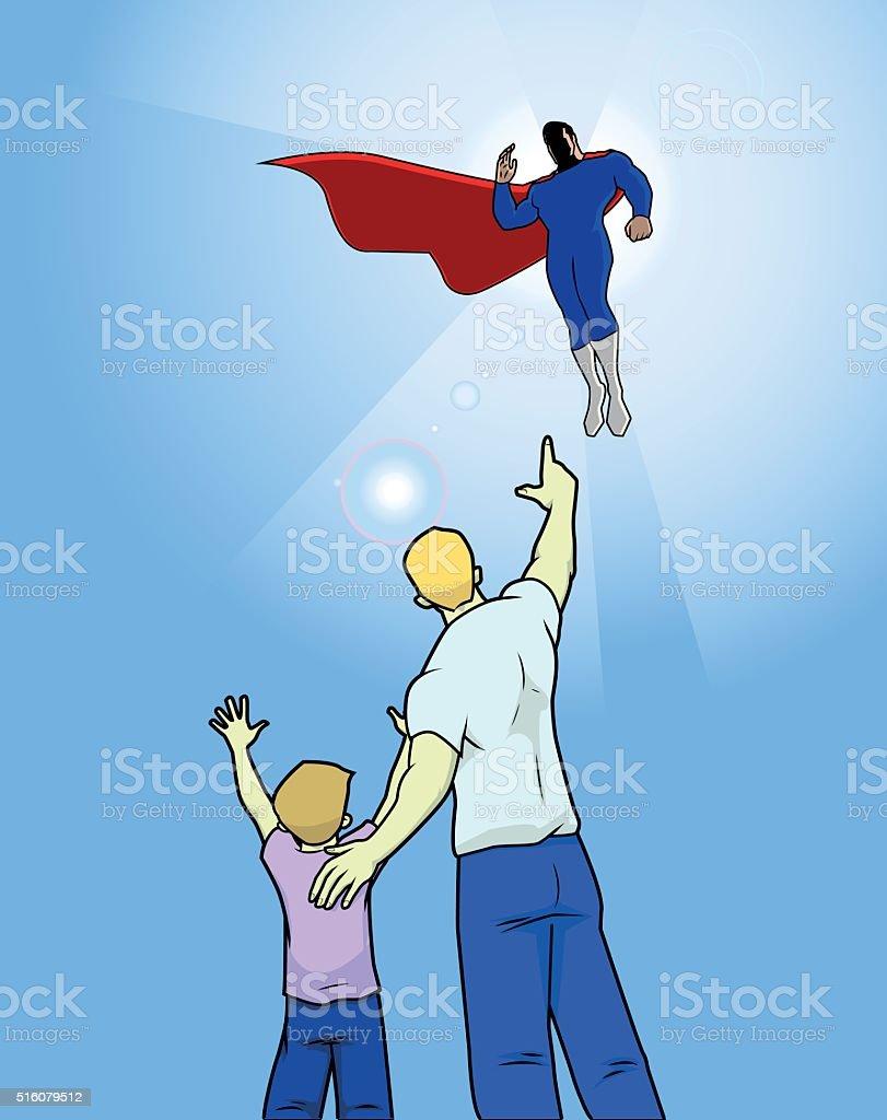 Kid cheering to a superhero vector art illustration