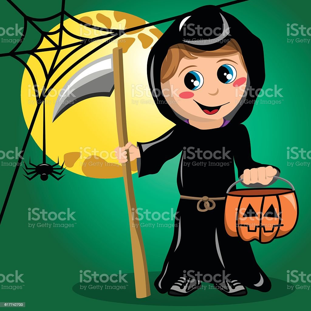 Kids at night with moon royalty free stock photography image - Halloween Holiday Event Night Trick Or Treat Autumn Kid Death Halloween Costume Full Moon Royalty Free Stock