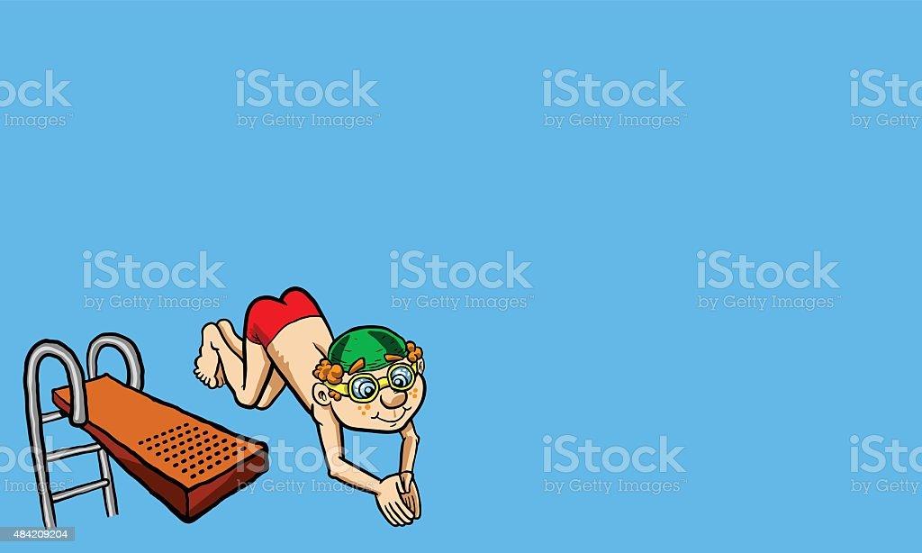 kid diving vector illustration vector art illustration