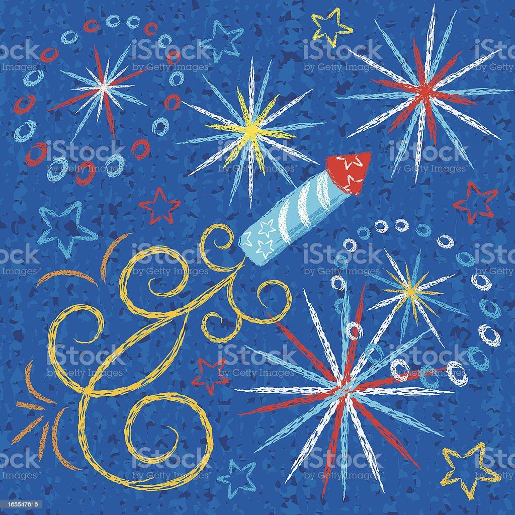 Kid Drawn Fireworks royalty-free stock vector art