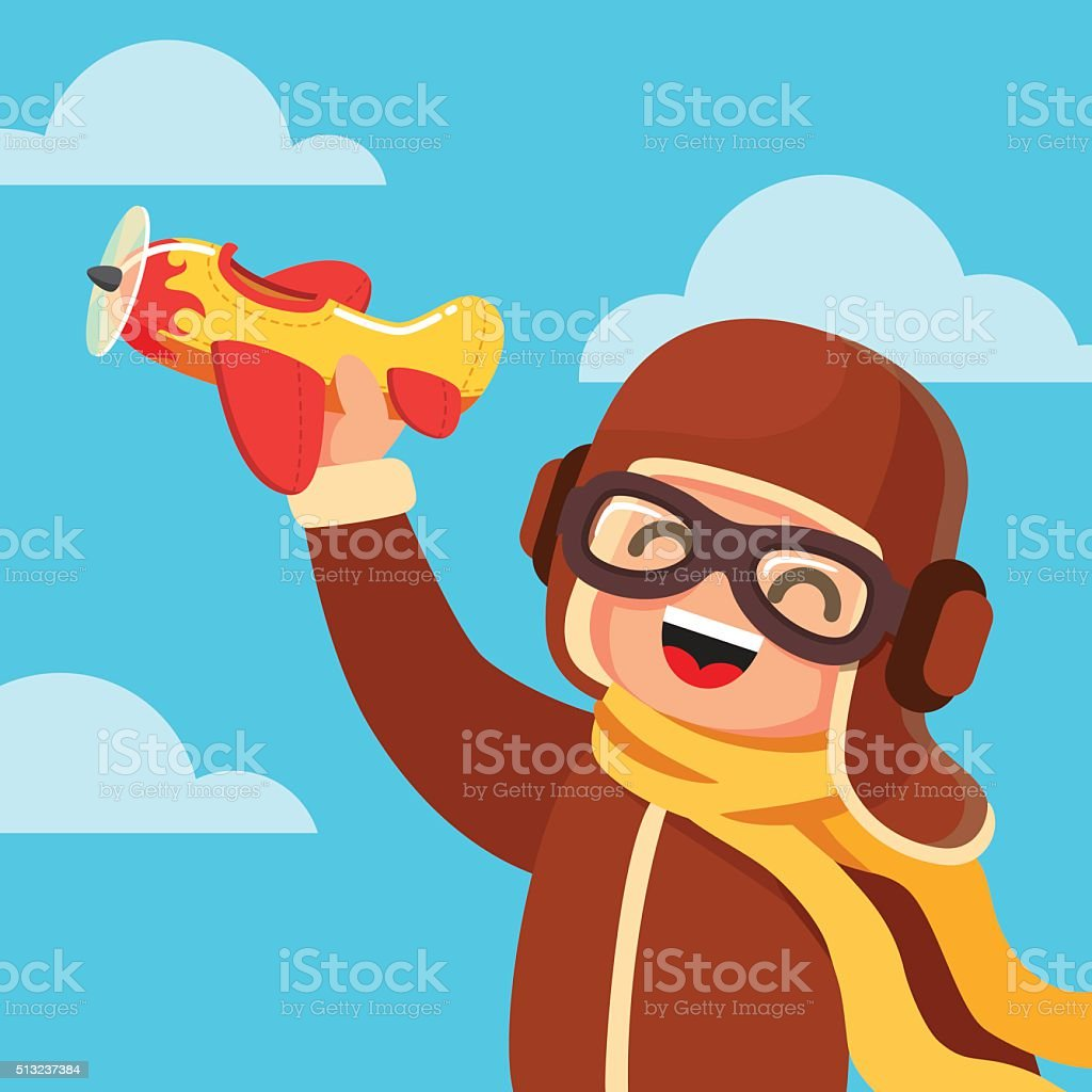 Kid dressed like a pilot playing with toy plane vector art illustration