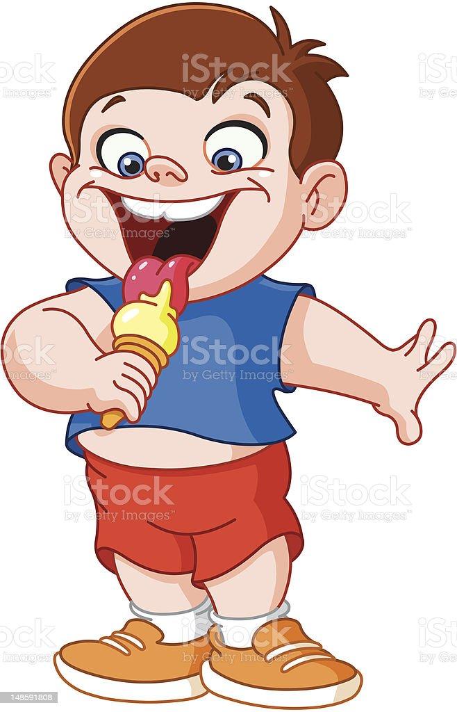 Kid eating icecream vector art illustration