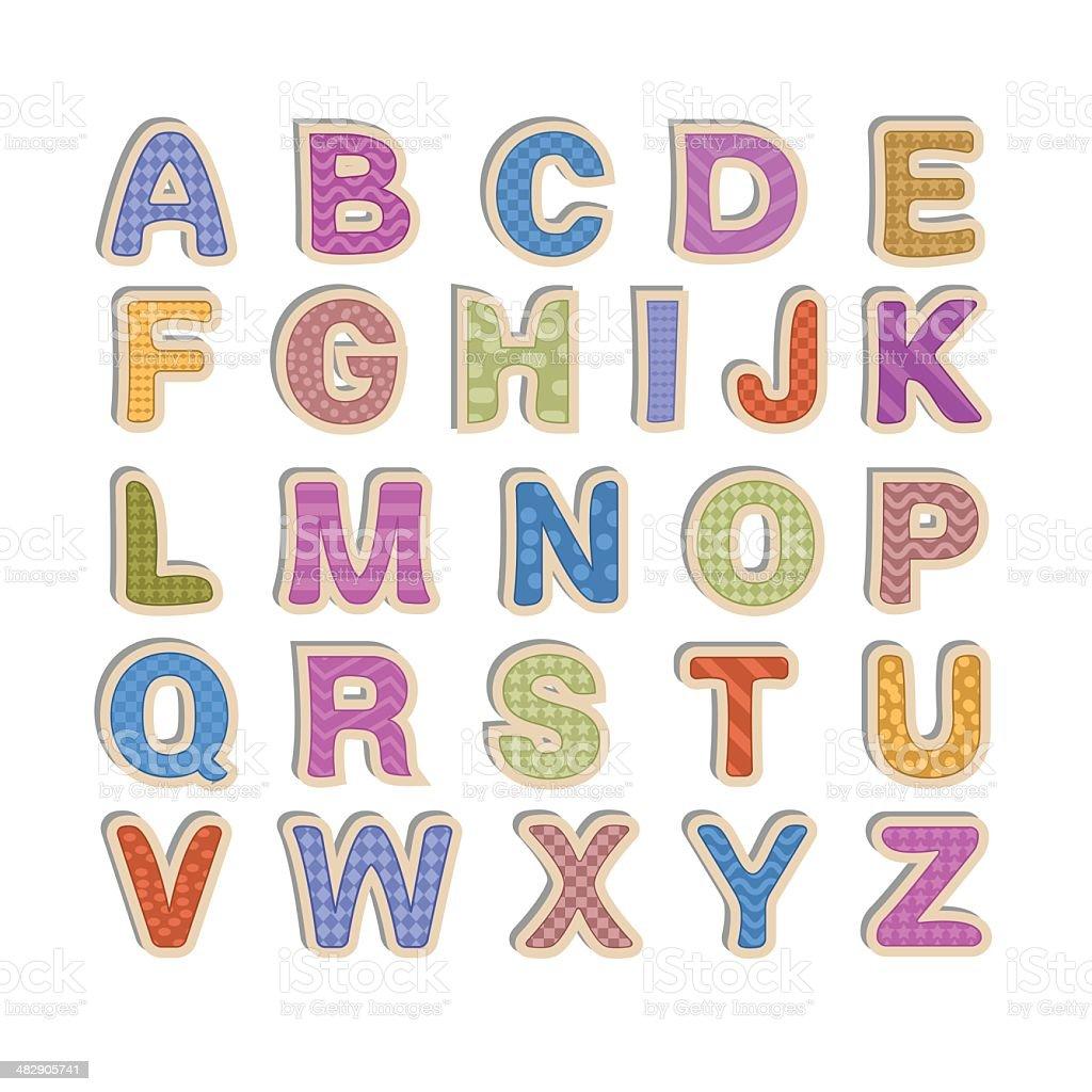 Kid font - alphabet vector art illustration