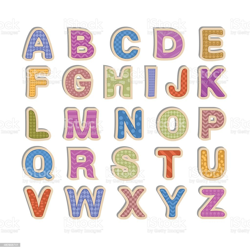 Kid font - alphabet vector art illustration