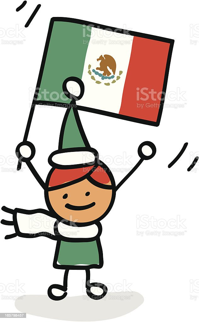 kid holding Mexico flag cartoon illustration royalty-free stock vector art