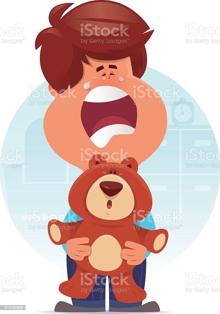 kid holding teddy bear and crying vector art illustration