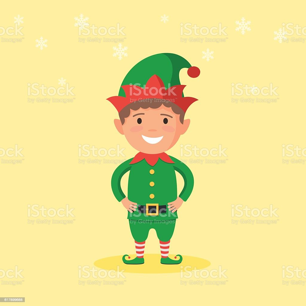 Kid in a Christmas Elf costume vector art illustration