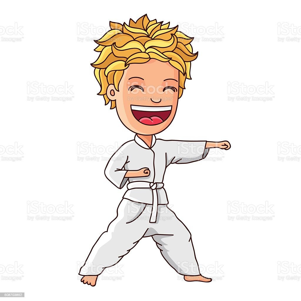 Kid in a white suit is engaged in karate vector art illustration
