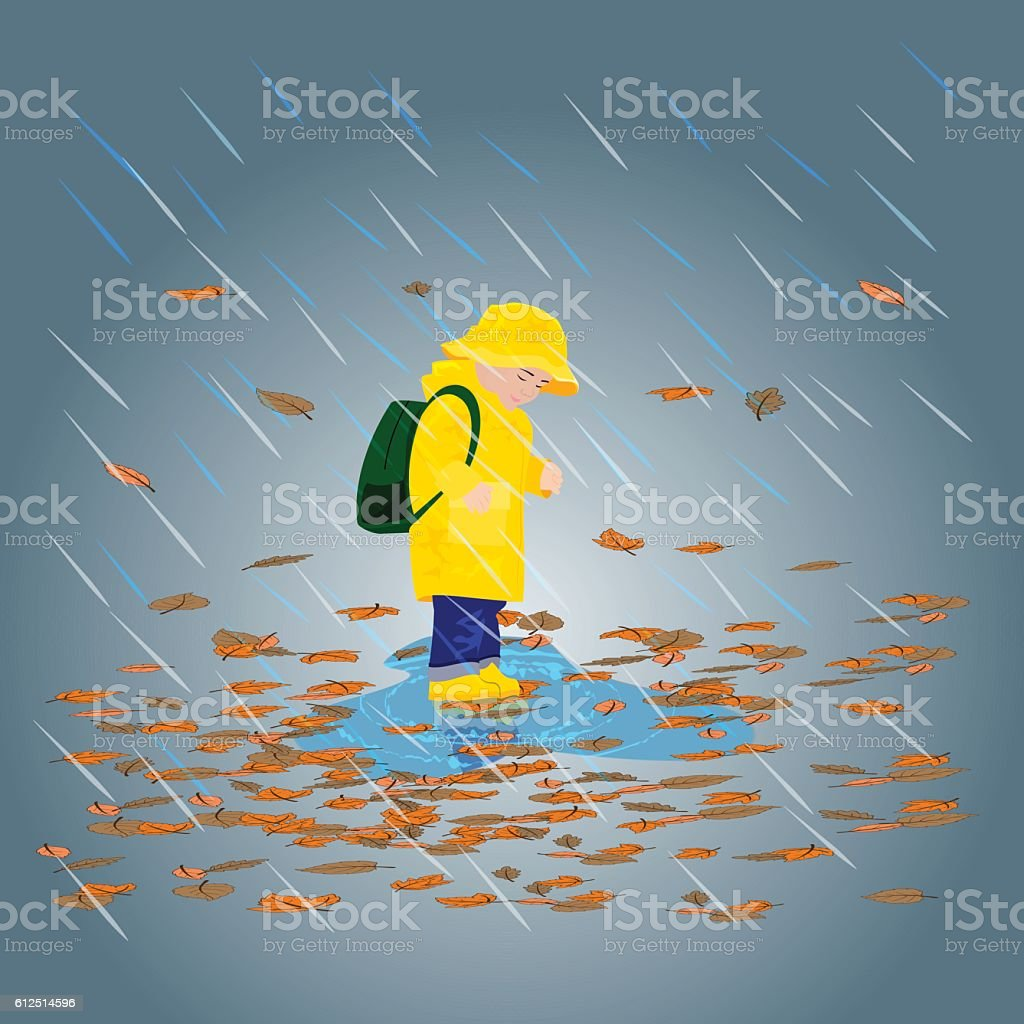 Kid in raincoats and rubber boots in the rain. vector art illustration
