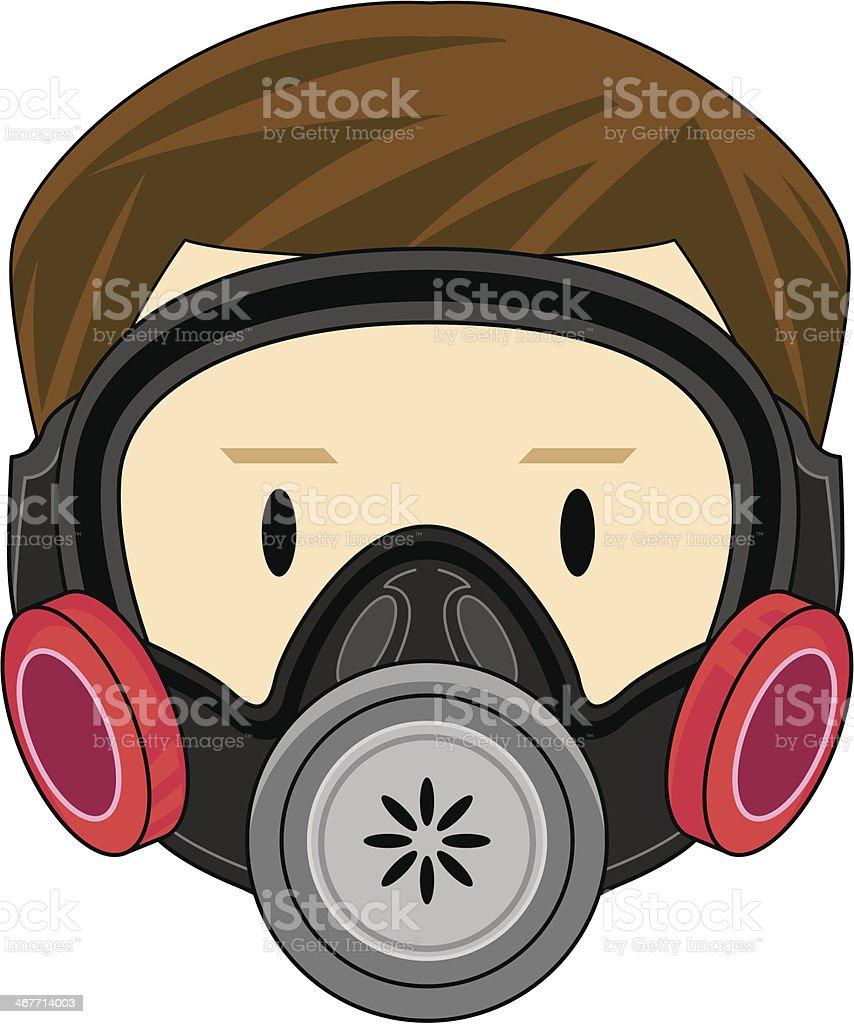 Kid in Respirator royalty-free stock vector art