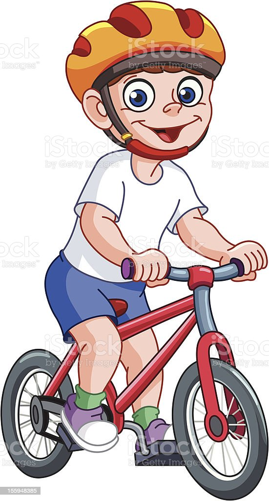 Kid on bicycle royalty-free stock vector art