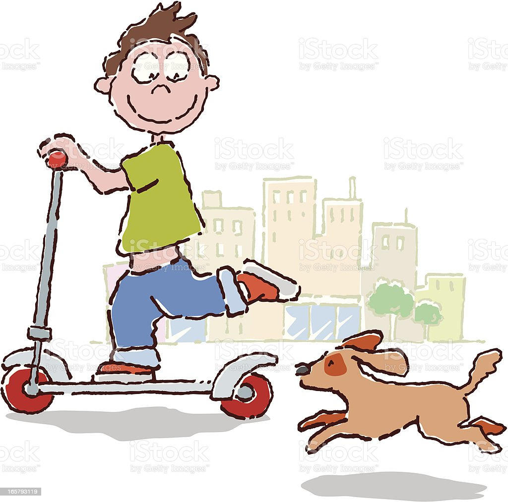 kid on scooter royalty-free stock vector art