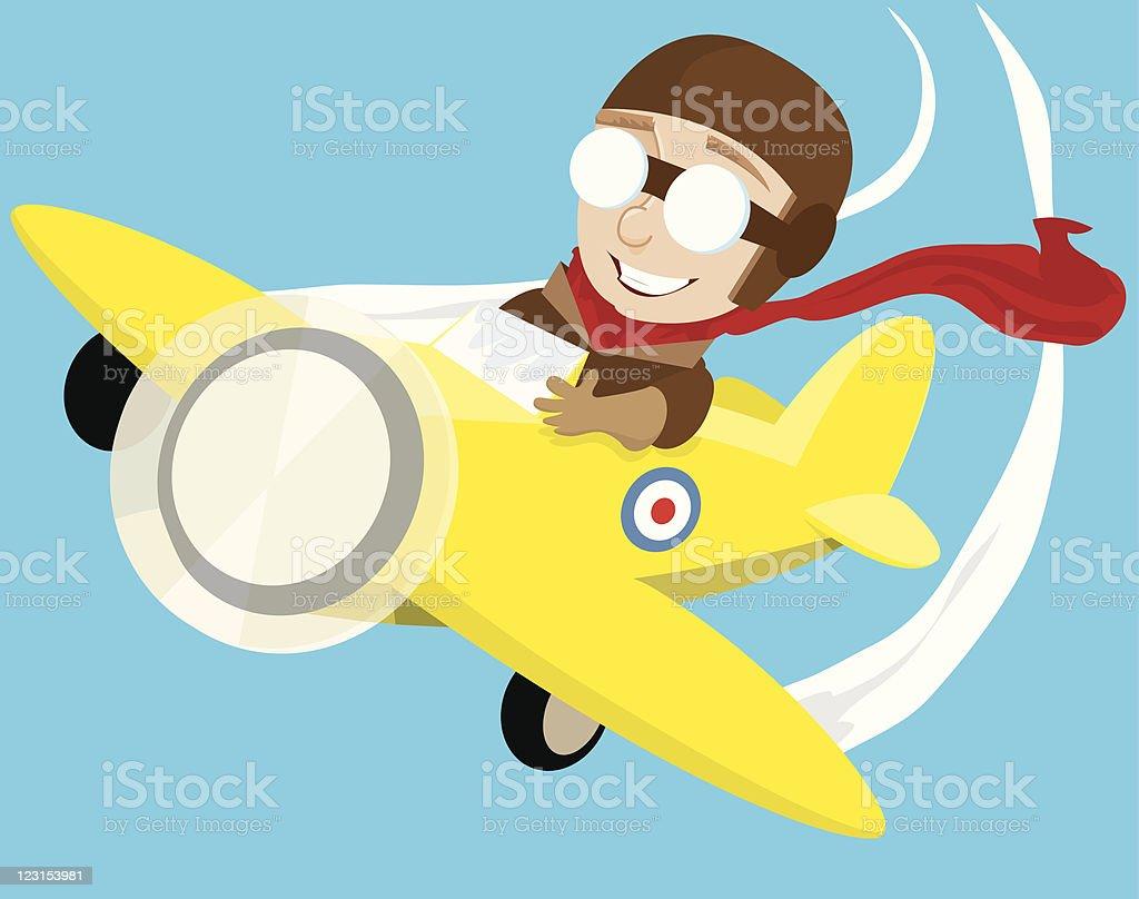 Kid Pilot vector art illustration