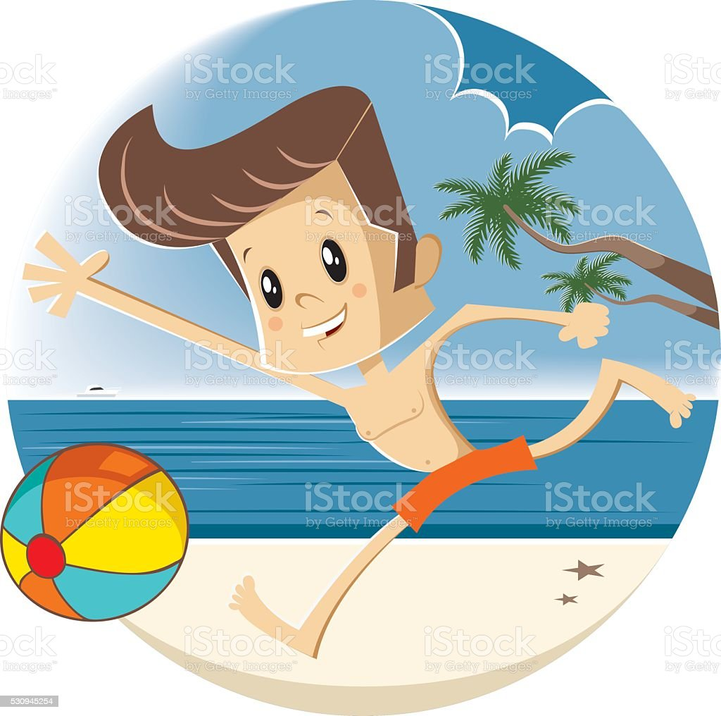 Kid playing at the beach vector art illustration