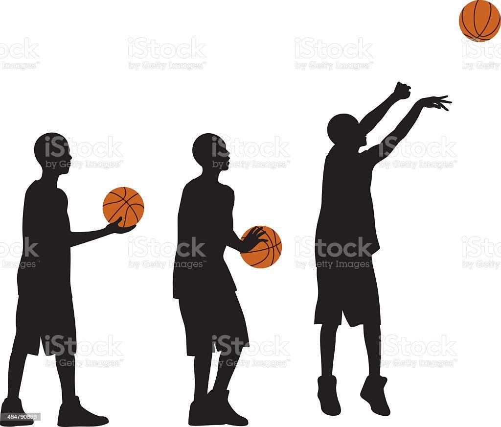 Kid Playing Basketball Silhouettes vector art illustration