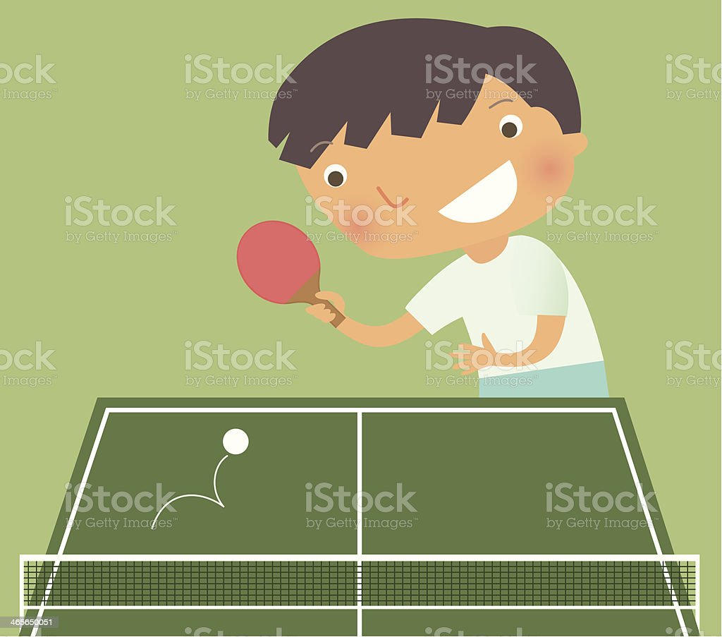 Kid playing ping pong vector art illustration