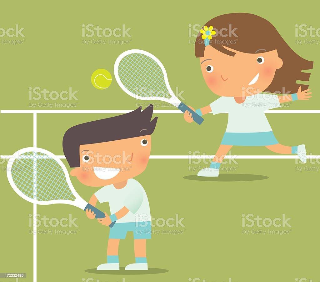 Kid Playing Tennis royalty-free stock vector art