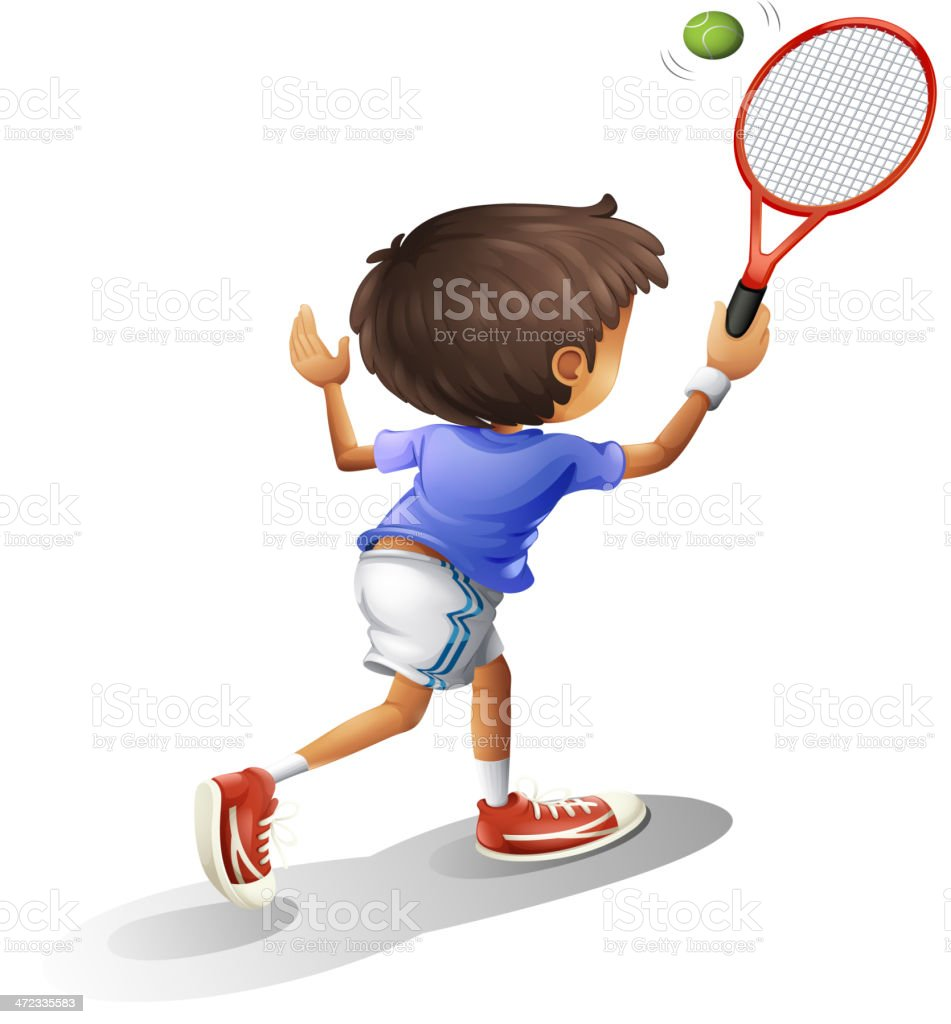 Kid playing tennis royalty-free stock vector art