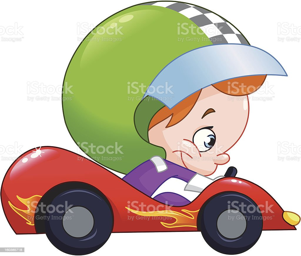 Kid race car driver royalty-free stock vector art