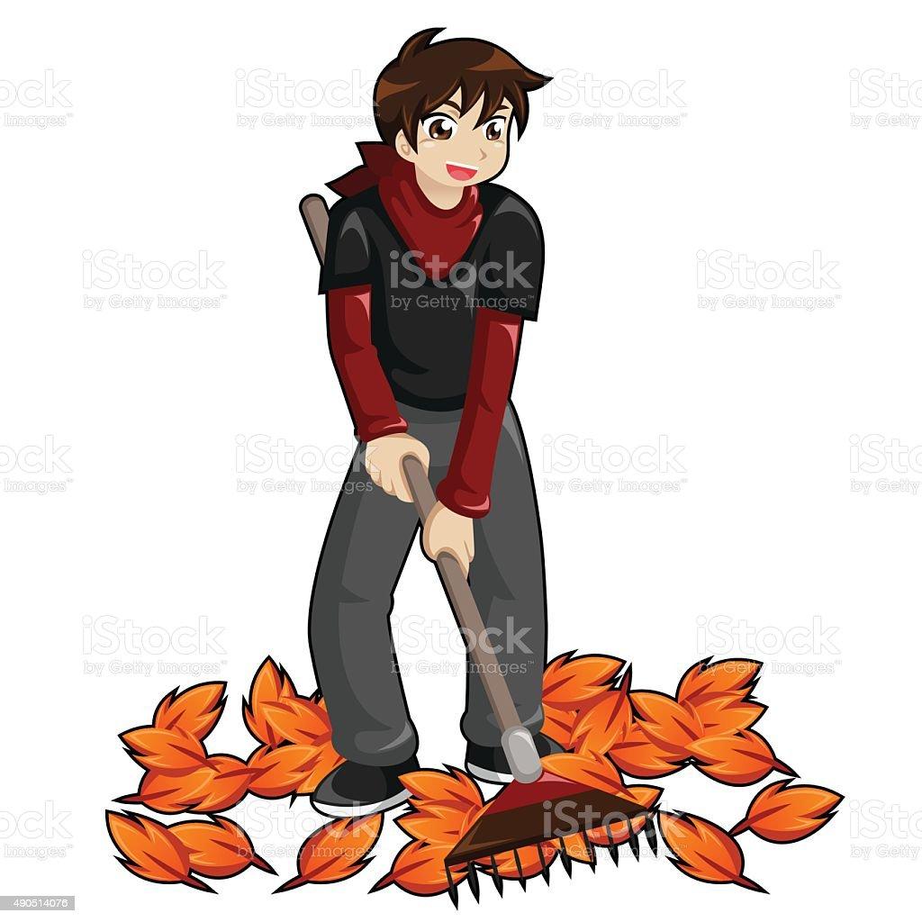 Kid rastrillaje hojas illustracion libre de derechos libre de derechos